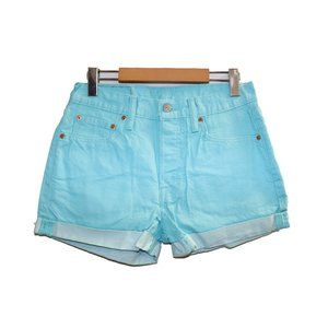 Levi's 501 High Waisted Aqua Blue Jean Shorts